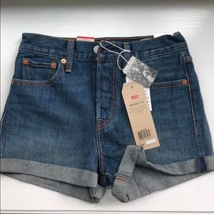 Levi's High Rise Wedgie Fit Denim Shorts